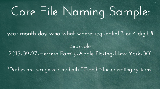 photo organizing naming style